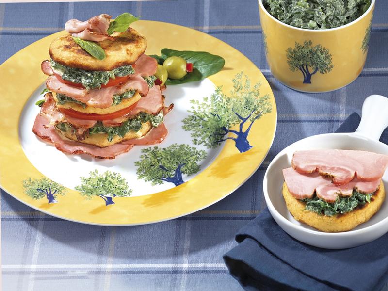 Картофено-спаначени кулички със запечен занаятчийски бекон Image 0