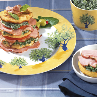 Картофено-спаначени кулички със запечен занаятчийски бекон Thumbnail Image